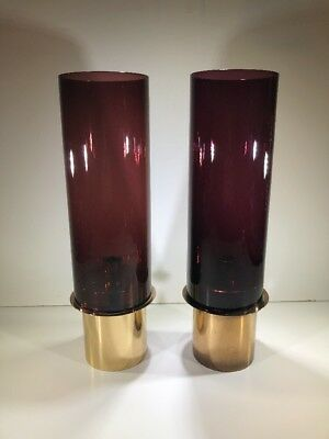 Pair Of Rare Hans Agne Jakobsson Mid Century Glass Candle Holder L40 Sweden 50's