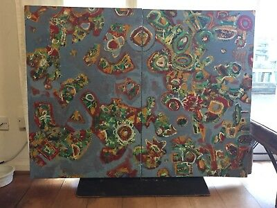 Set of 2 colourful abstract large oil painting canvases original