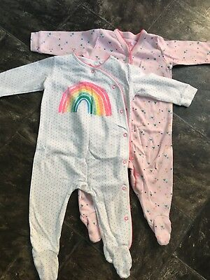 Next Baby Girls 6/9 Month Sleepsuits