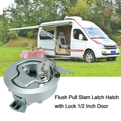 "2"" Stainless Steel Flush Pull Slam Latch For Boat Deck Hatch 1/2"" Door Lock E0U9"