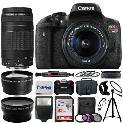 Canon Eos Rebel T6I Camera + 18-55mm stm + 75-300mm + Top Value Accessory Bundle