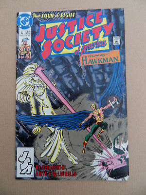 Justice Society Of America  4 of 8 . Hawkman . DC 1991 . VF - minus