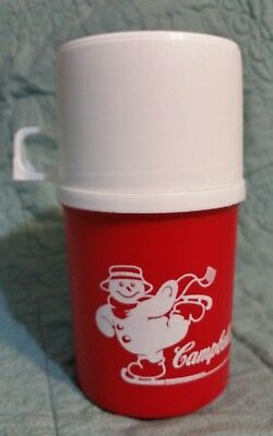 Vintage Alladinware Campbell's Soup Skating Snowman Red & White Plastic Thermos