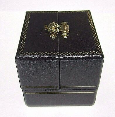 * Black Double Opening Ring Box With Gold Accent Clip  Design. Velvet Inside