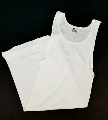 0218875cebde00 Vintage Hanes Men s White Ribbed Undershirt Tank Top Made USA Sz Large 42-44