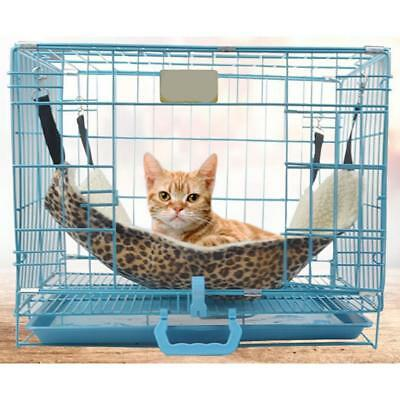 Ouneed Leopard Print Pet Cat Hammock Bed Cover with 4  Belts Mat Blanket Comfort