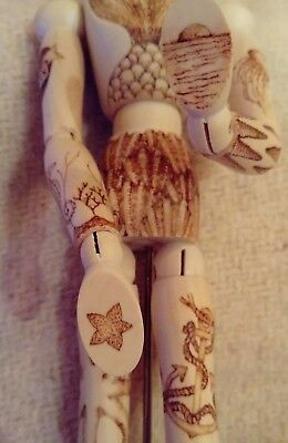 Pyrography Wooden Artists Mannequin with Ocean Tattoos
