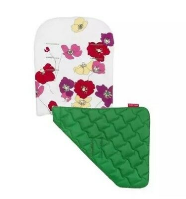Maclaren Baby Buggy Reversible Seat Liner Open Floral- Snow/Jelly Bean Green New