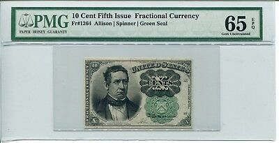 FR 1264 Fractional 10 Cents Fifth Issue 65 EPQ Gem Uncirculated