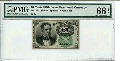 FR 1264 Fractional 10 Cents Fifth Issue 66 EPQ Gem Uncirculated - RARE GRADE