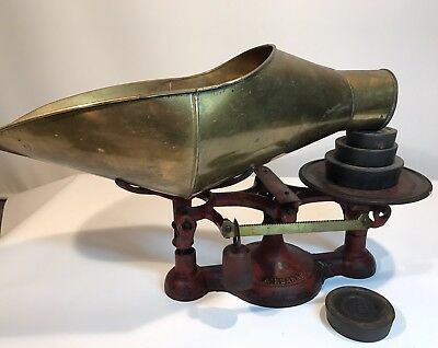 Rare Antique Fairbanks #2 Scale Cast Iron General Store W/weights & Funnel Pan