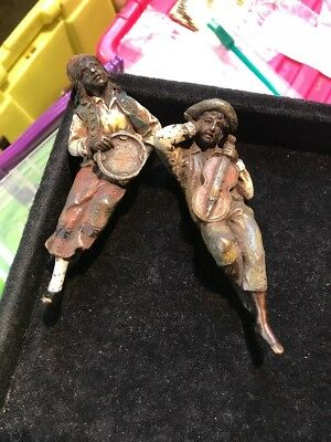 Antique Style Cold Painted Austrian Bronze 2 Figures Of Gypsy Man Signed Bergman