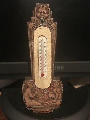 Antique Wood Thermometer Devils North Wind MUST SEE!!!