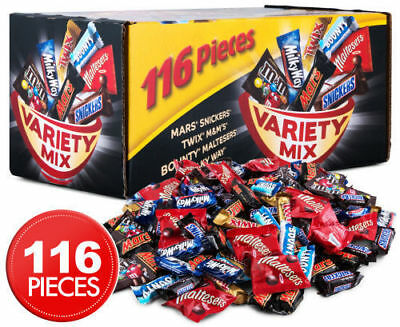 Mars Snickers VARIETY Mix 116 Mini Bars 1.7kg Box Milk Chocolate Bounty Twix M&M