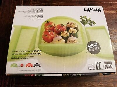 New Lekue Large Green Steam Case with Tray