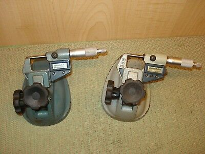 """2pc.  0-1""""  MITUTOYO DIGITAL MICROMETERS  WITH STANDS .00005"""" MACHINIST"""