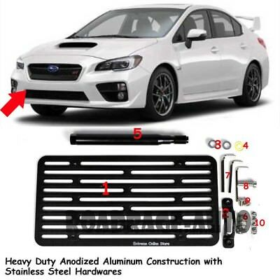 For 2015-Up Subaru WRX STi Front Tow Hook Mount License Plate Relocated Bracket