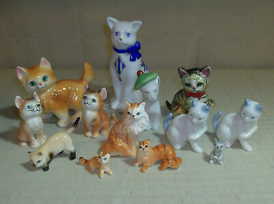 12 Vintage Cats Kittens Figurines & 1 Mouse Ceramic & Porcelain EUC Free Ship