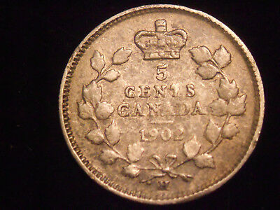 1902 Canada 5 Cent Silver Nickel Free Shipping