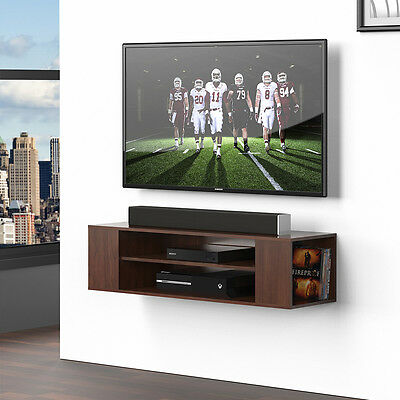 Wall Mount TV Console Floating Stand Media Storage Open Shelves Component  Rack