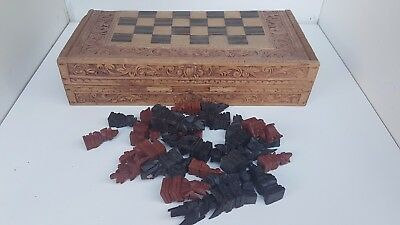 hand carved chess board box