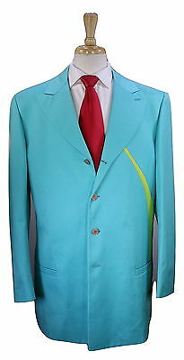 * GIANNI VERSACE * Vintage Miami Aqua Green Cotton Runway Peak Lapel 4B Suit 40R