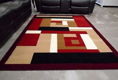 Modern Area Rug 5x8 Color Block Design Brown Beige Tan Taupe Red Black New