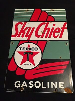 Large Old Vintage Texaco Sky Chief Gasoline Porcelain Gas Station Sign
