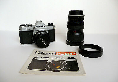 PENTAX K1000 35mm Camera w/ 2 Lenses 50mm Pentax Lens & Macro Sun Zoom Lens