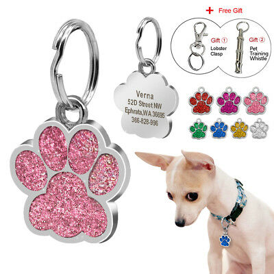 Personalized Dog Tags Glitter Paw Shape Engraved Pet Doggie ID Name Collar Tag