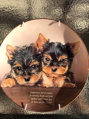 Danbury Mint Cherished Yorkies COMPANIONS Plate Yorkshire Terrier Dog Puppy