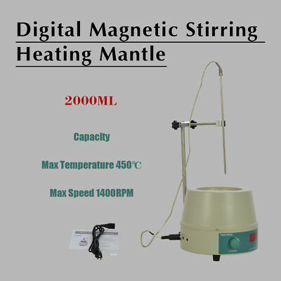2000ml 110V Electric Digital LCD Magnetic Stirring Heating Mantle 98-III-B-2000