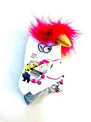 Girls' Despicable Me  2 Pack Socks - White S/M NEW