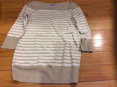 GAP MATERNITY Beige White Striped Sweater Small spring