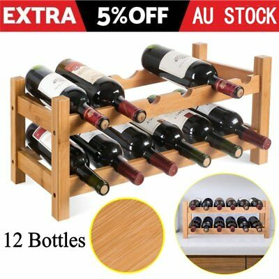 12 Bottle Wine Rack Holder Bamboo Wood Storage Organiser Display Shelf Bar 2Tier