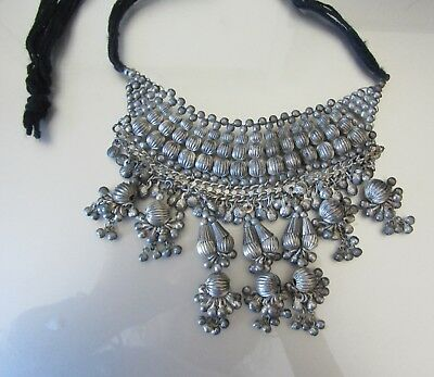 Vintage Antique Silver Colored Beads Old Tribal Necklace Costume Jewelry Indian