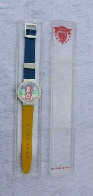 Coca Cola Swiss Made Watch Advertising Blue & Yellow with case