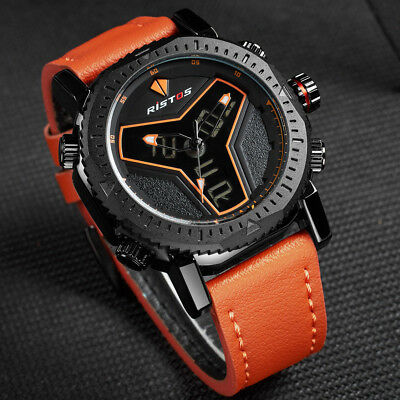 Men's Sports Fashion Analog & LED Digital Leather Strap Waterproof Wrist Watch