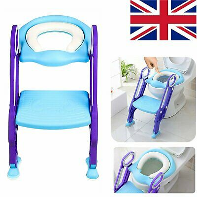 Kids Toddlers Potty Training Toilet Padded Seat Trainer Foldable Step-up Ladder