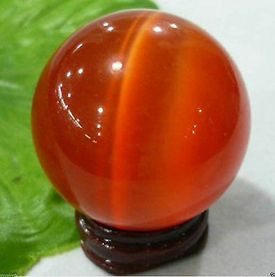 Hot Sell Asian Quartz Red Cat Eye Crystal Healing Ball Sphere 40MM + Stand#s