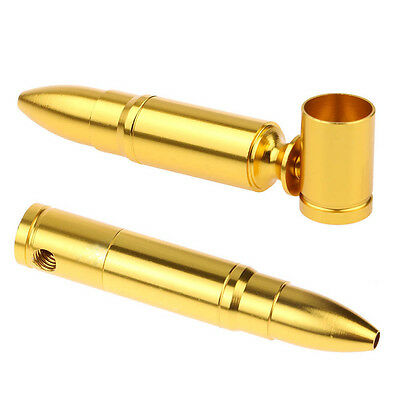 Unique Cool Bullet Shape Pipe Golden Mini Pipes Chinese Medicine Holder Portable
