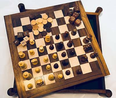 5 in 1 Wooden Board Game Table Set Chess Backgammon Checkers Cards Flip Table