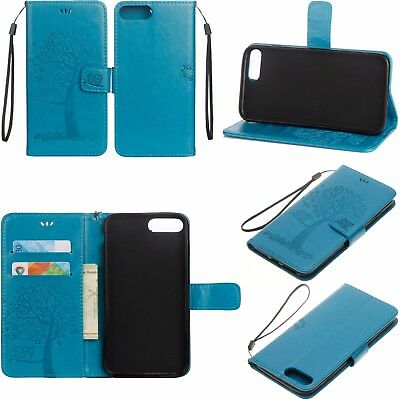 "For Oneplus 5 Five A5000 5.5"" Owl&Tree Strap Leather Wallet Case Cover Blue USA"