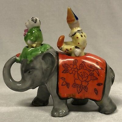 Rare Art Deco Ceramic Elephant with Doggy & Clown Nodder Salt & Pepper Shakers
