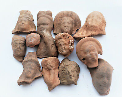 Lot of 13 terracotta Greco Roman small  heads Egypt 1st century BC- 1st CE