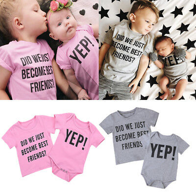 2018 Toddler Kids Baby Boy Letter Brother Matching Clothes T shirt Tops Outfit