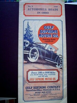 Gulf Supreme Motor Oil Automobile Roads In  Ohio No. 9-1929