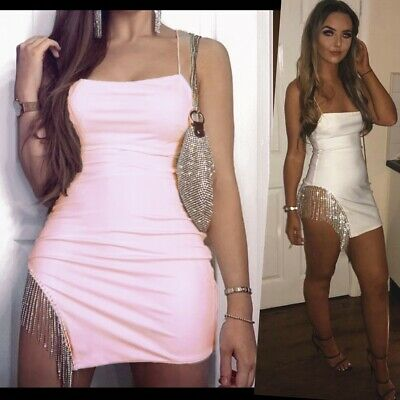 Ladies Knitted One Shoulder Belted Mini Dress Asymmetric Hollow Bodycon Top UK