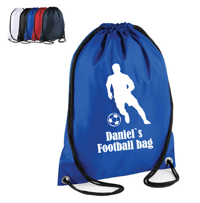 Personalised Drawstring Bag FOOTBALLER Game School PE Kit Sport Gym Girls Boys