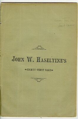 Haseltine's 81st Sale, 1884, signed by Ed Frossard
